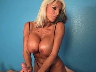 Mature masseuse wanks around hands and boobs
