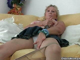 Grandma with broad in the beam tits masturbates coupled with gets finger fucked