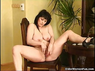 Curvy old housewife with hanging beamy tits and extended butt