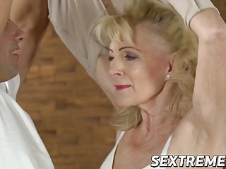Licentiously granny sucks together with fucks with younger stud