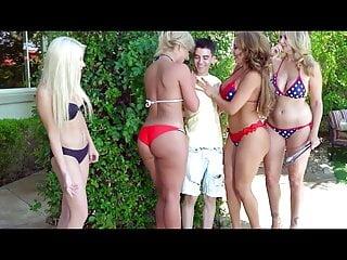 Skinny lad bonking three MILFs
