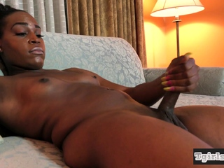 Ebony shemale solo tugging will not hear of confection cock