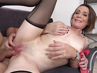 Naughty progenitrix Ania gets young cock in for everyone holes