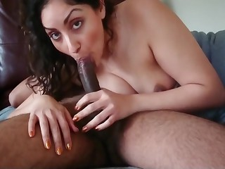 Indian milf house wife gives slow sensual Blowjob and swallows desi chudai POV Indian