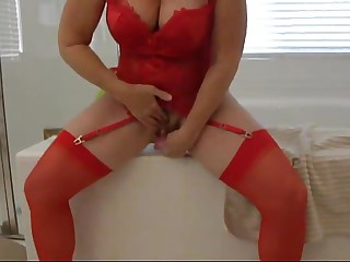 My milf wife in red garters masturbates and cums hd