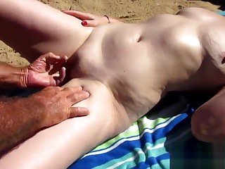 Mature wife jerking stay away from cock on the beach