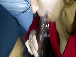 Cuckold Wife Gives Big Black Cock Sloppy Nasty Deepthroat BJ