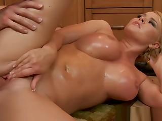 Chesty wife Krissy Lynn slurping cum in be transferred to kitchen