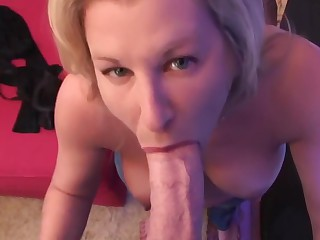 Busty housewife blowjob and titfuck