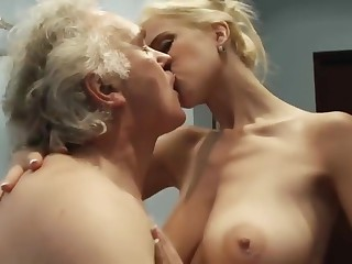 Slut old woman fucks down old man for money