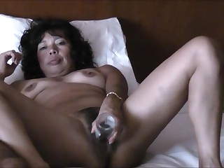 Asian wife masturbates and riding cock
