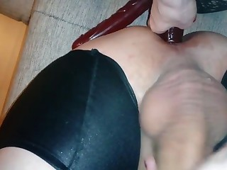 Fucking hubby s ass with dildo