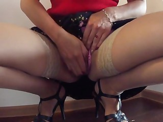 Newcomer disabuse of homemade Wife, Stockings porn shore up steady