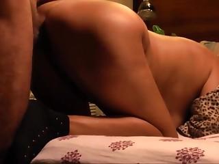 Cum shot on asian wife buttocks