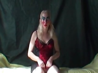 Masked milf flashing her pussy