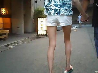 Candid whte shorts long time 1of2