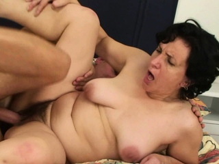 Hairy pussy old mother inlaw spreads legs