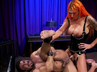 Huge tits shemale bombshell bangs slave