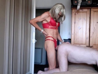 RachelSexyMaid 45 Blonde Shemale Fucks Daddy
