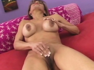 Sofia, a hot granny babe is object fucked on the couch!