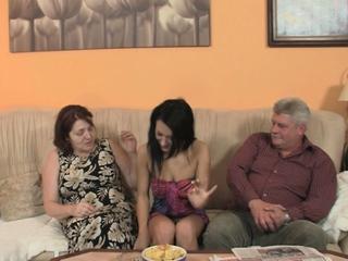 Very ancient couple seduce teen procure family threesome
