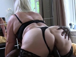 Granny gobbles chunky black cock and gets banged