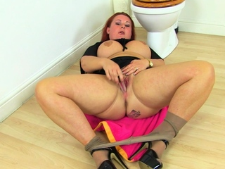 Busty mature maid Jane finger fucks her scanty cunny