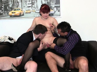 Two dudes share shaved pussy office overprotect
