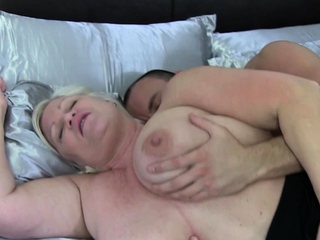 Plump british grandmother bounces on cock