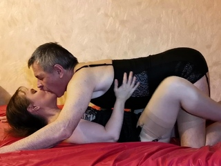Husband in stockings fucks her without mercy