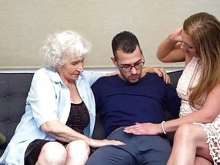 Hairy granny with an increment of mom sharing son's cock