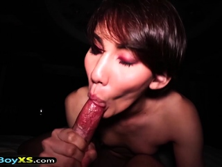 Hot and chap-fallen tomboi looking asian shemale POV making out