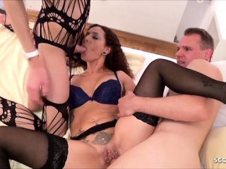 German Mara Martinez Dabbler TS Shemale and Guy Threesome