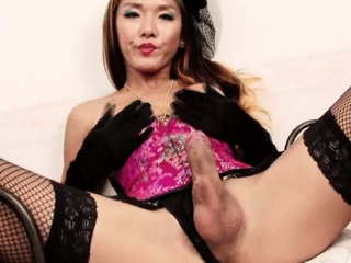 Busty shemale in stockings vilify