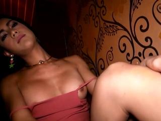 Pretty Thai ladyboy Paula barebacked