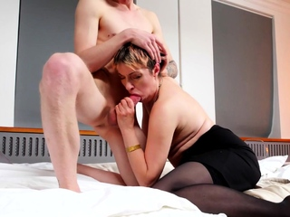 TUTOR4K. Sexy mature motor coach and younger man transform into