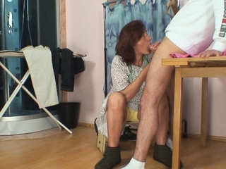 Hairy old pussy tailoress spreads will not hear of legs for him