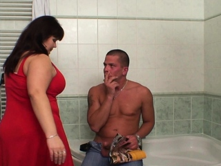 Big boobs mommy helps him cum in agree with b socialize with
