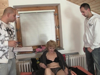 Skinny blonde grandma enjoys trio sex