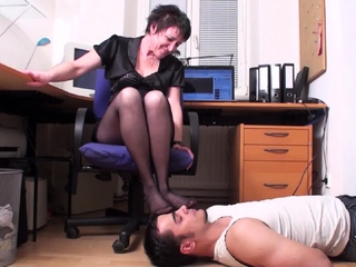 of age Bit of all right and her foot smelling slave in domicile office