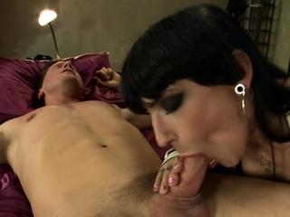 In bdsm hotel TS anal fucks guy