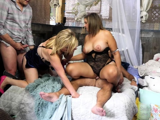 Busty blondes in sexy lingerie enjoying hardcore sex