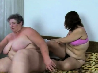 Obese grandma joins a kinky couple