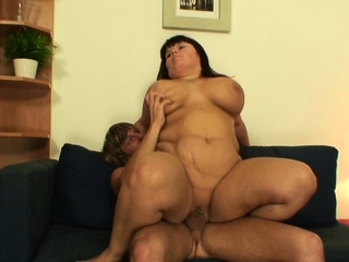 Huge tits old of age suck added to ride his big dick