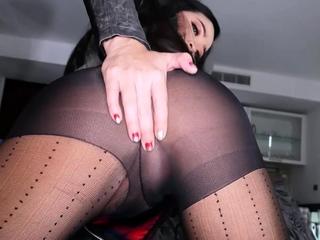 Thai ladyboy rips her black stockings