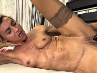 Short haired mature infant Sanny is naked in her collapsing