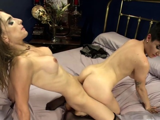 Spoiled rich slut fucked by shemale
