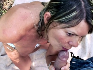 Young Scrounger Seduce 75yr old Grandma to Outdoor Fuck more Beach
