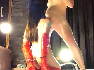 Crazy ladyboy sucking white dick