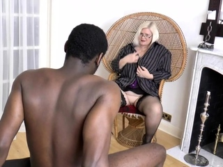 Granny gobbles blackguardly cock